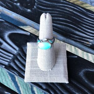 Jewelry - Silver Ring with Turquoise and White Stones